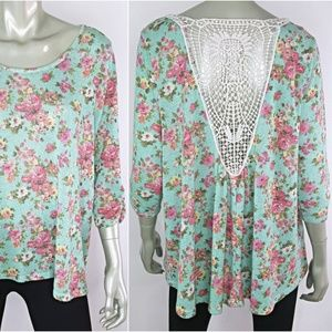 Plus Size 3X Knit Crochet Back Flowy Boho Top